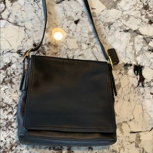 Coach leather crossbody purse black vintage flap